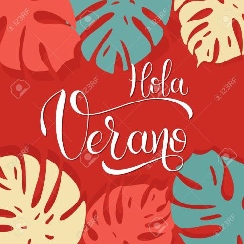 small resolution of hola verano hello summer lettering on spanish elements for invitations posters greeting