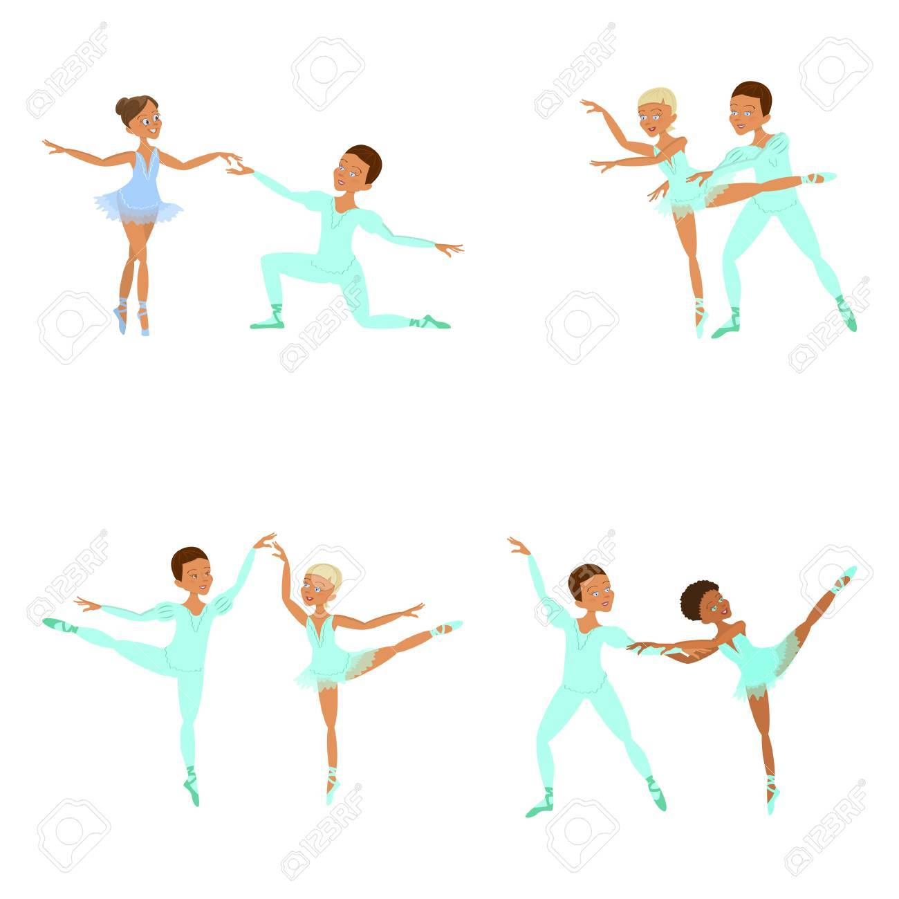 hight resolution of boy and girl ballet dancers stock vector 74084185