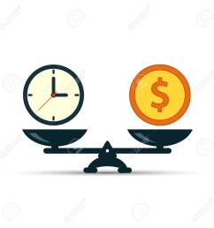 time is money on scales icon money and time balance on scale weights with [ 1300 x 1300 Pixel ]