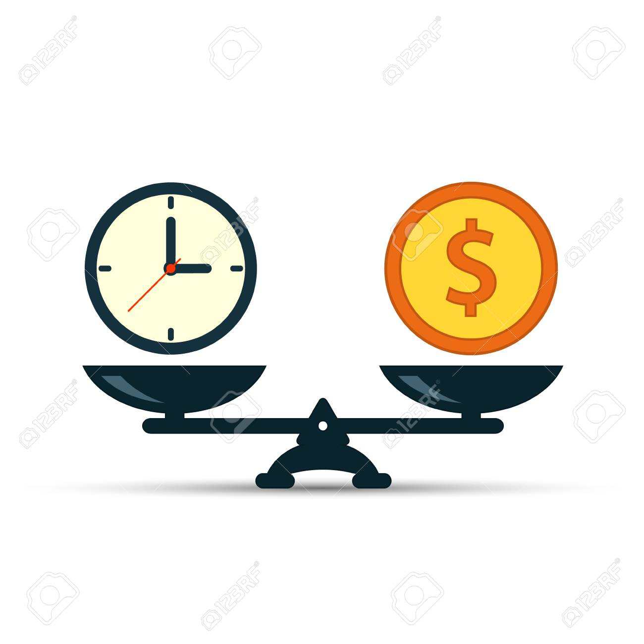 hight resolution of time is money on scales icon money and time balance on scale weights with
