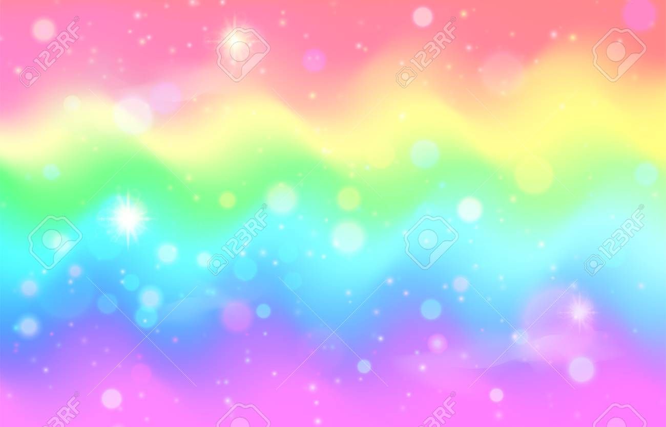 115075367 unicorn rainbow wave background mermaid galaxy pattern with shiny dots particles pastel pink blue gr