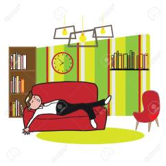 Living Room Pictures Clipart Designs Indian Small Apartments Man Sleep On Sofa In Royalty Free Cliparts Vectors And Stock Vector 58538213