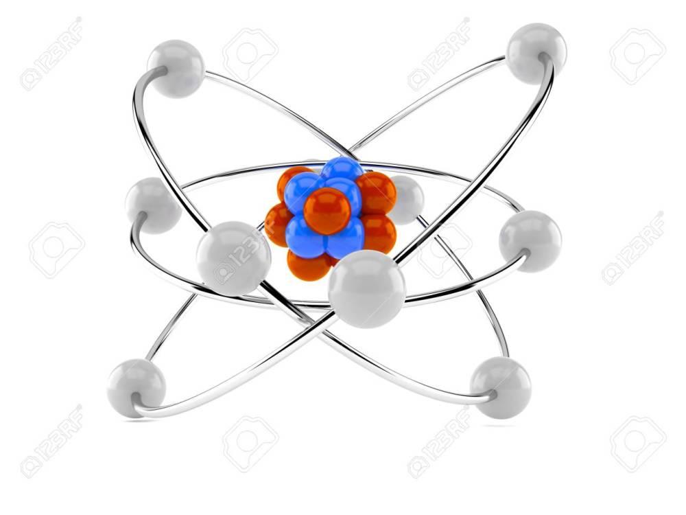 medium resolution of atom model isolated on white background stock photo 81306117