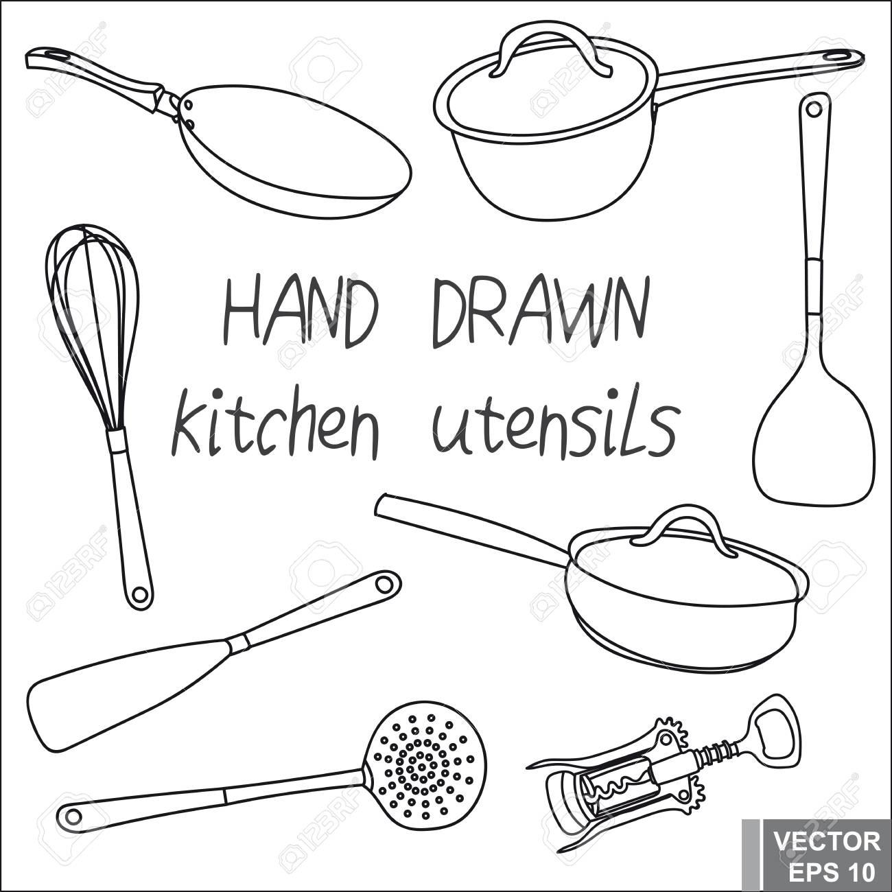 dessin a main levee set ustensiles de cuisine pour preparer la nourriture pour votre conception
