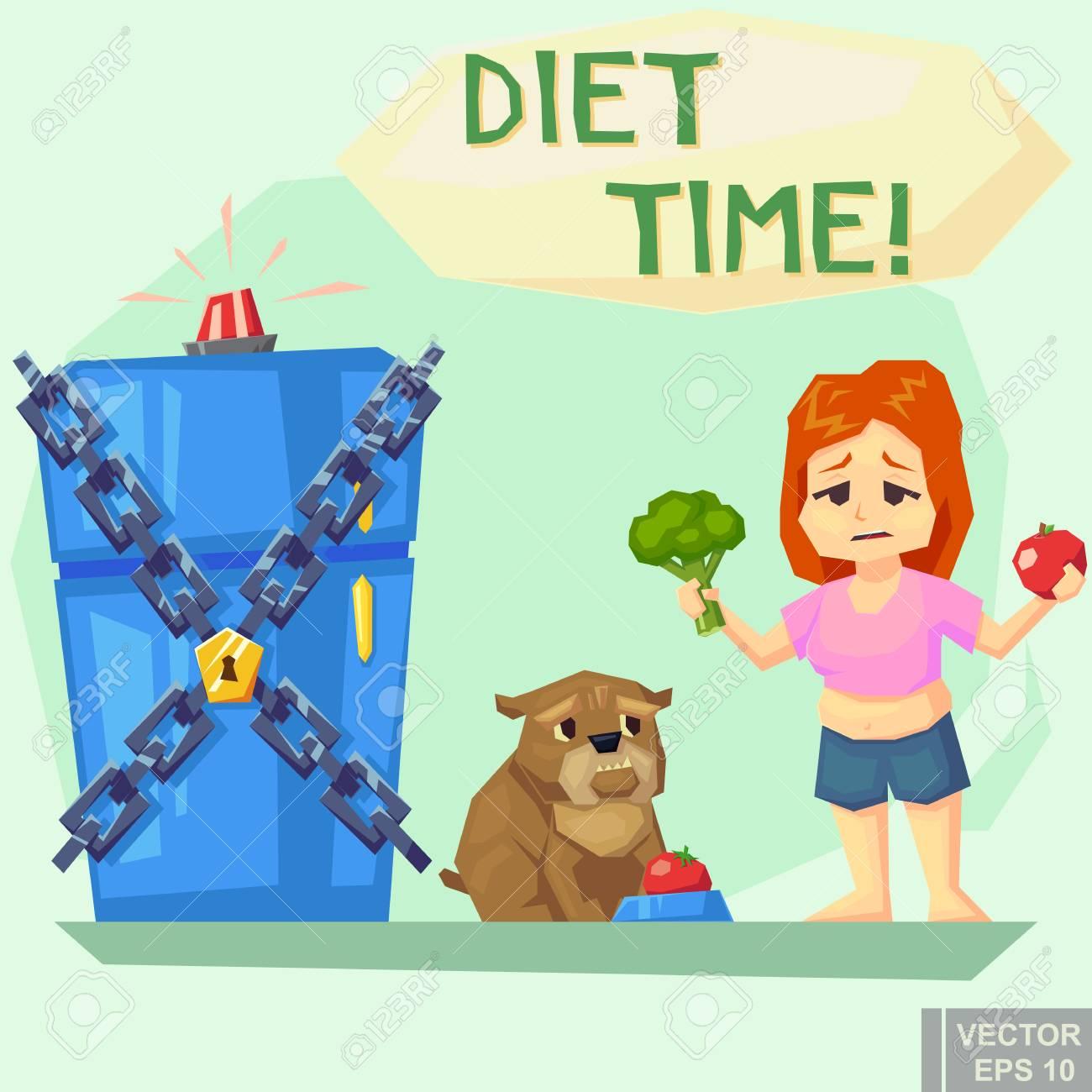 Kühlschrank Mit Kette Verschlossen. Diät-Konzept. Lustige Abbildung