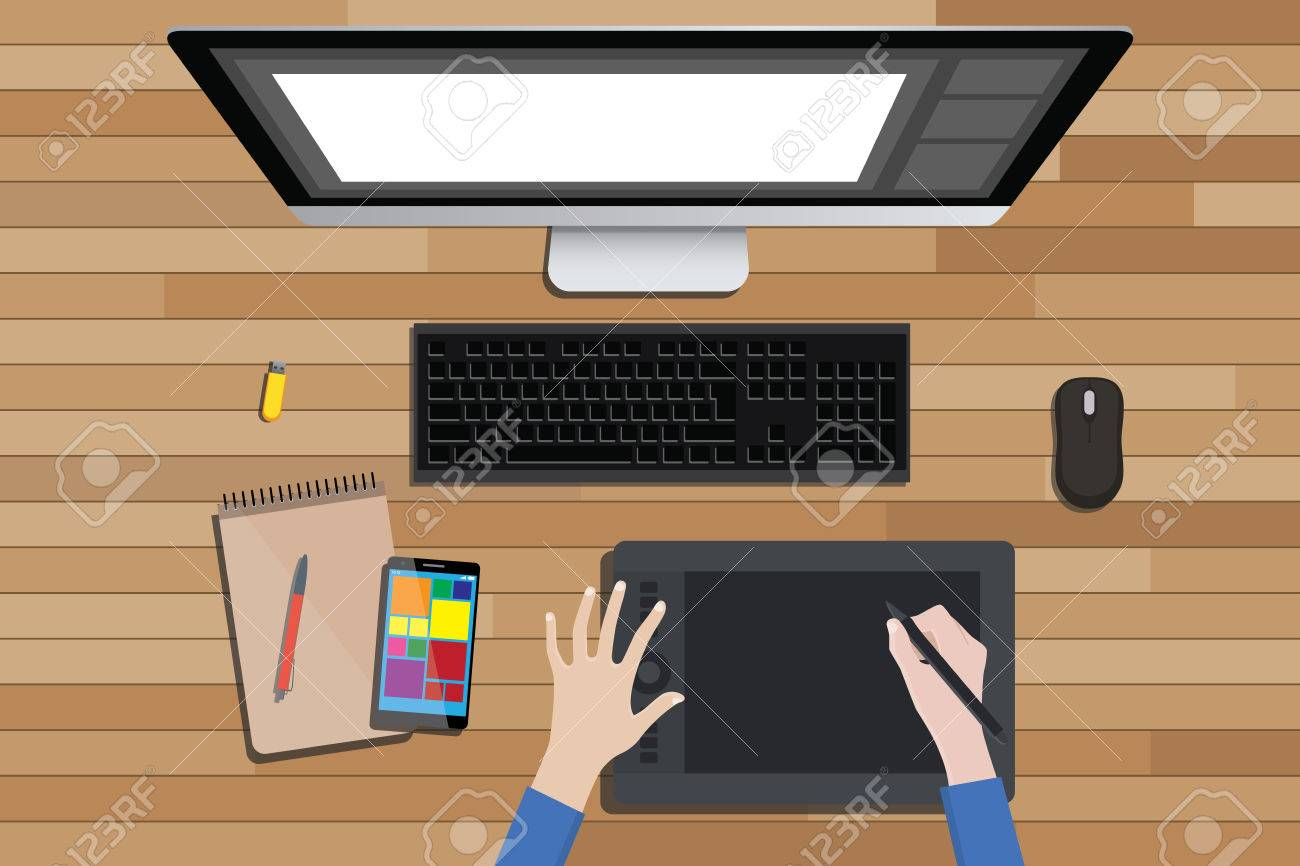 Best Kitchen Gallery: Graphic Design Workspace With Digital Sketching And Monitor Vector of Graphic Design Workspace  on rachelxblog.com