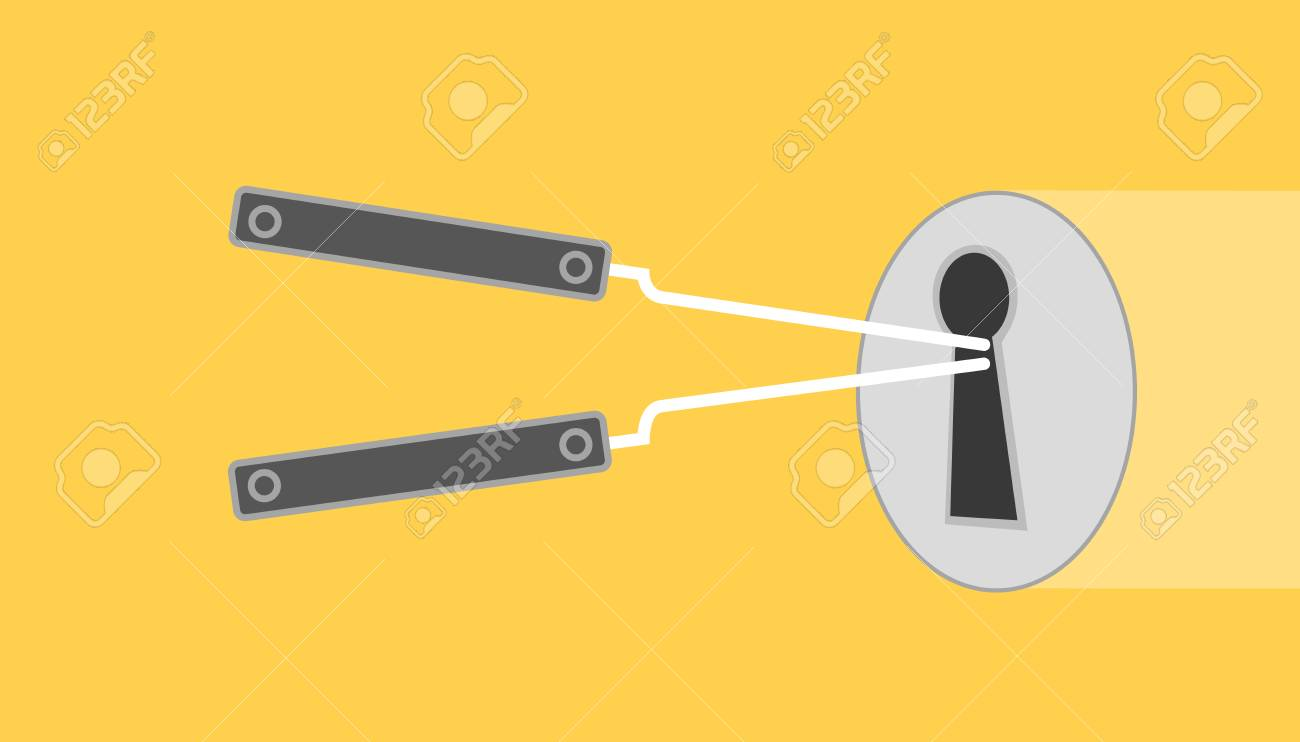 hight resolution of lock pick illustration with lock picked yellow background with flat style vector graphic stock vector