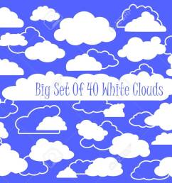 vector white clouds and outlined clouds vector clipart wedding or nursery ornament heaven cloud white fluffy cloud in cartoon style set of clouds  [ 1300 x 974 Pixel ]