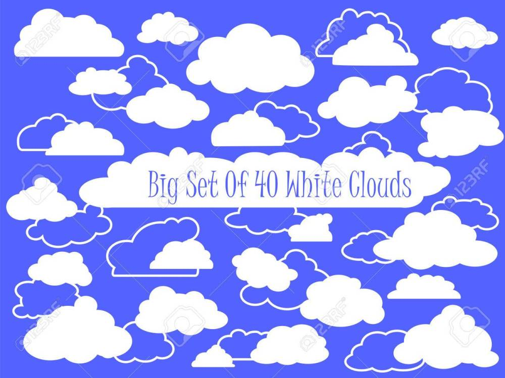 medium resolution of vector white clouds and outlined clouds vector clipart wedding or nursery ornament heaven cloud white fluffy cloud in cartoon style set of clouds