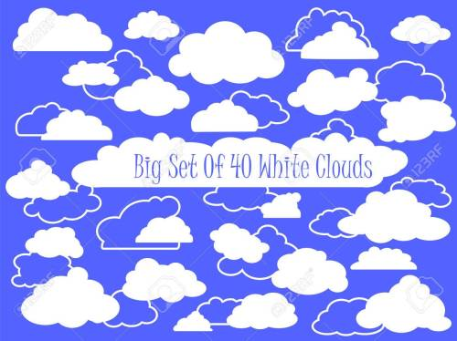 small resolution of vector white clouds and outlined clouds vector clipart wedding or nursery ornament heaven cloud white fluffy cloud in cartoon style set of clouds