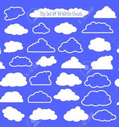 vector white clouds and outlined clouds vector clipart wedding or nursery ornament heaven cloud white fluffy cloud in cartoon style set of clouds  [ 1300 x 881 Pixel ]
