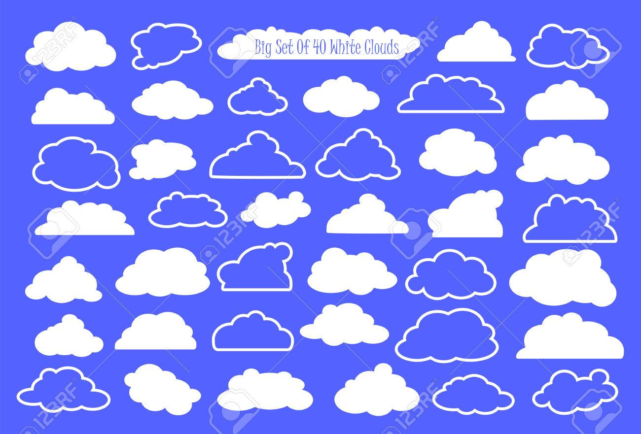 hight resolution of vector white clouds and outlined clouds vector clipart wedding or nursery ornament heaven cloud white fluffy cloud in cartoon style set of clouds