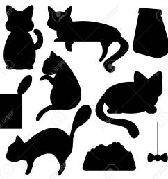 cats and cat food silhouettes vector clipart cat pose of relax sleep watching [ 1300 x 1261 Pixel ]