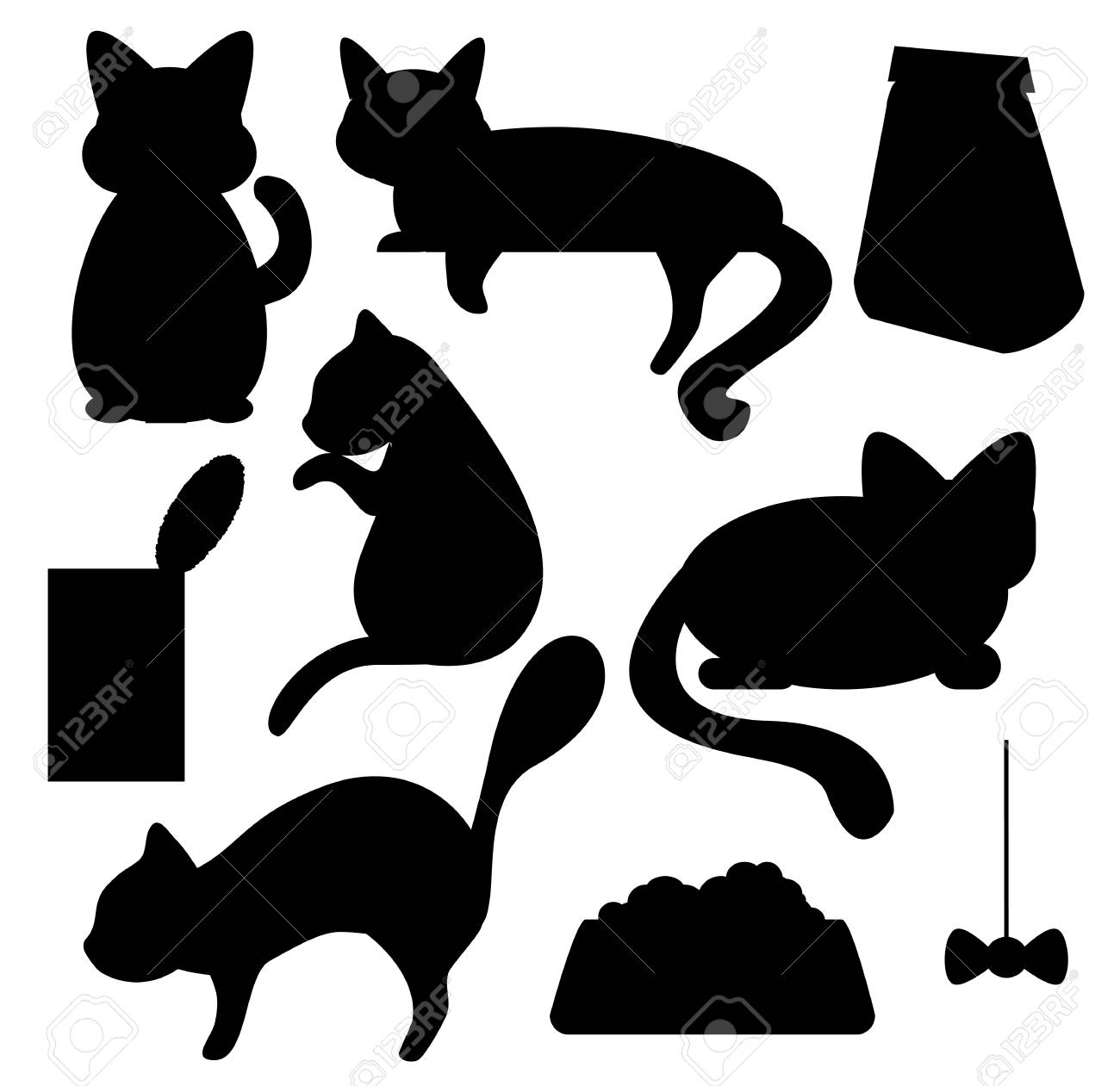 hight resolution of cats and cat food silhouettes vector clipart cat pose of relax sleep watching