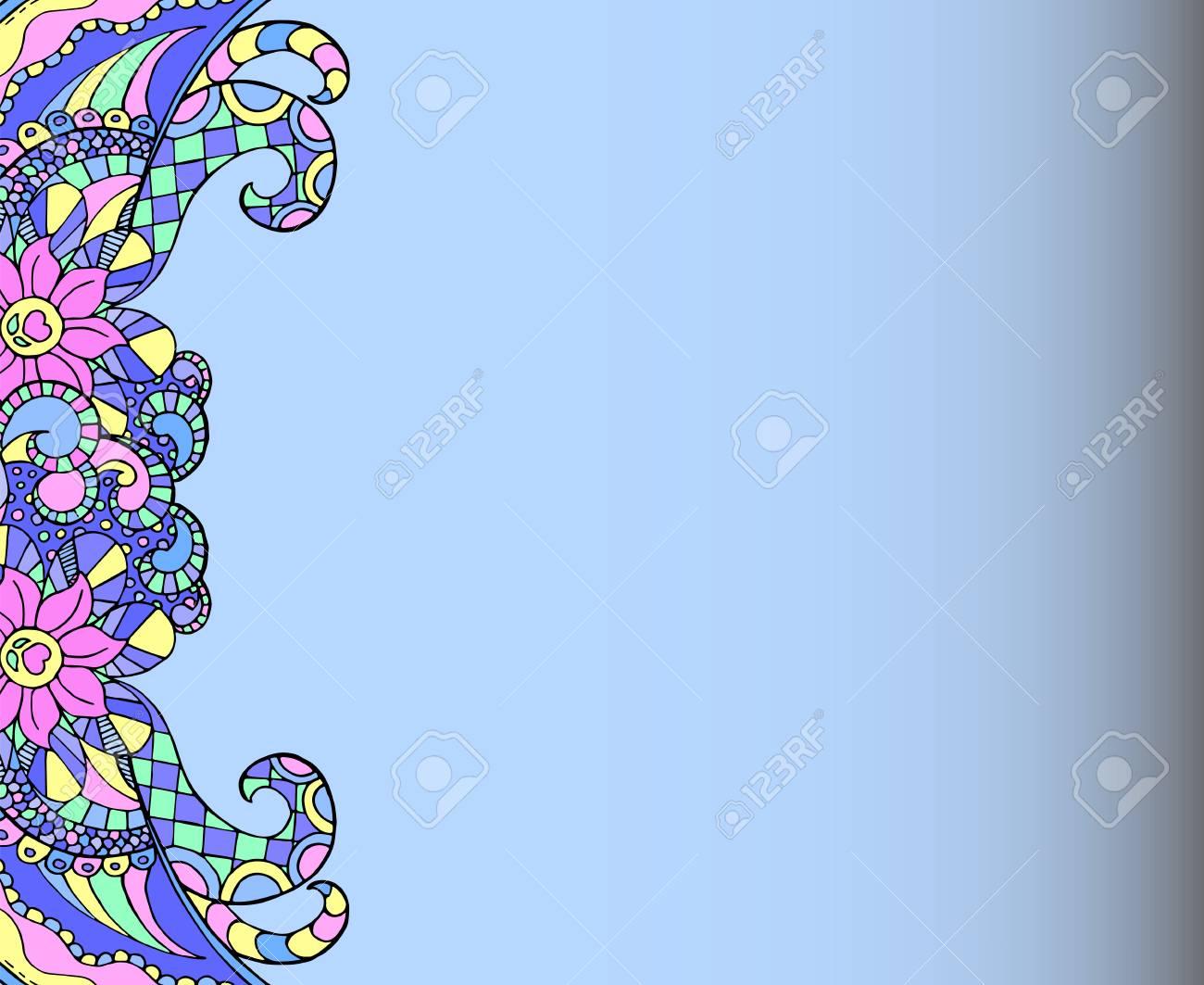 frontiere doodling style mandala sur papier vierge modele de carte de voeux ou d invitation de mariage page blanche horizontale en bleu