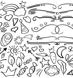 handdrawn vector clipart funny doodle set in freehand style [ 1300 x 913 Pixel ]