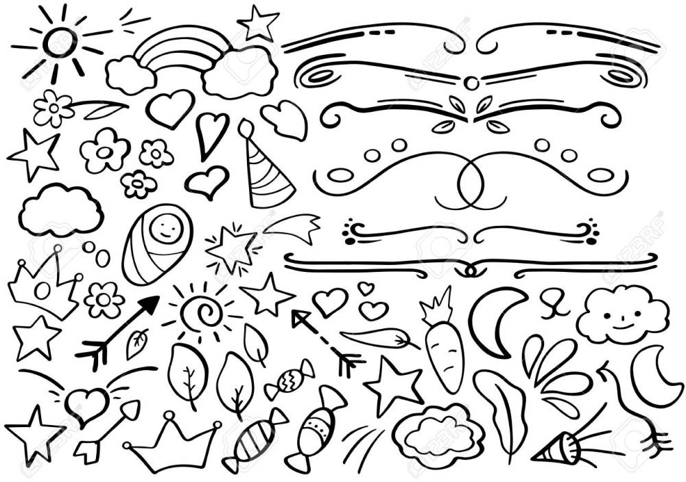 medium resolution of handdrawn vector clipart funny doodle set in freehand style