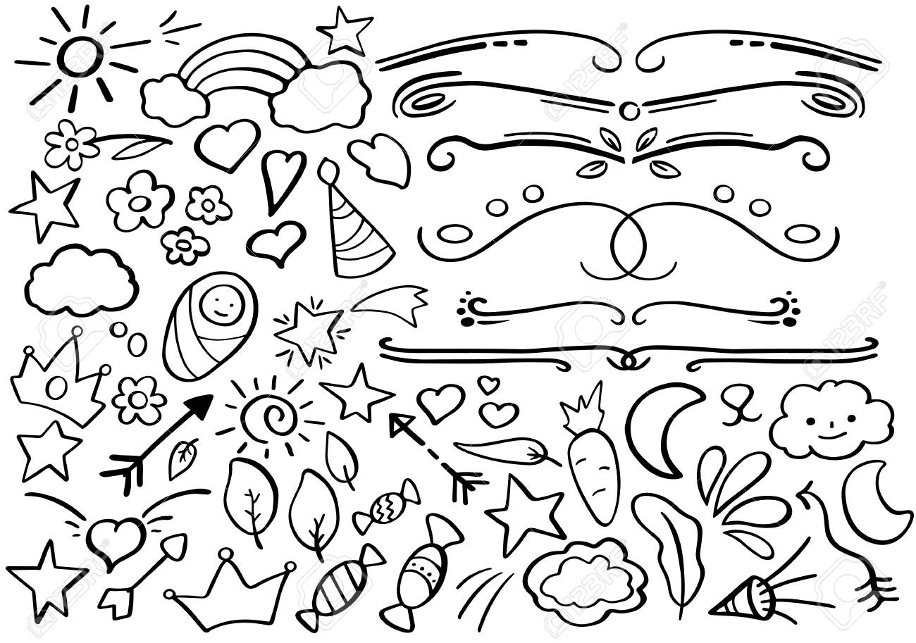 hight resolution of handdrawn vector clipart funny doodle set in freehand style