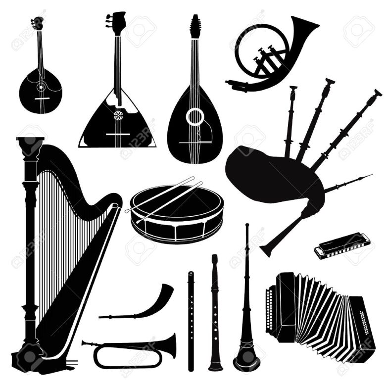 music instruments vector set musical band equipment royalty free
