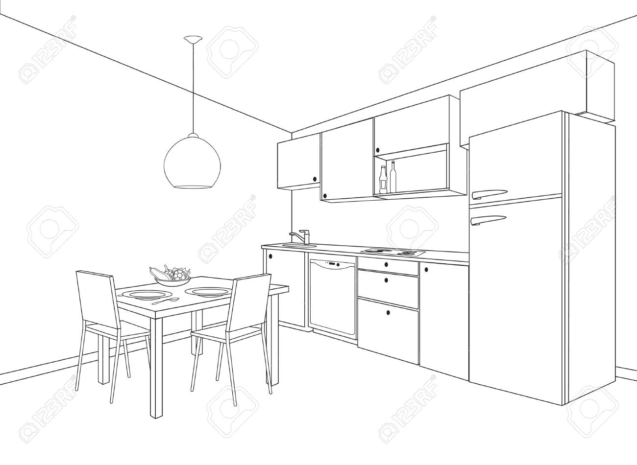 Kitchen Design 3d Drawing