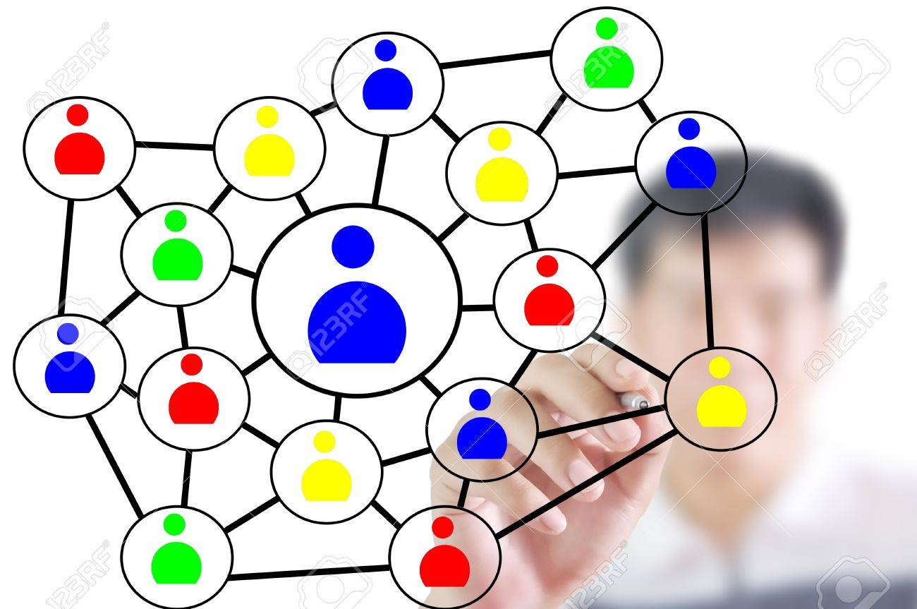 Man Write Social Network Diagram Or Chart Stock Photo Picture And