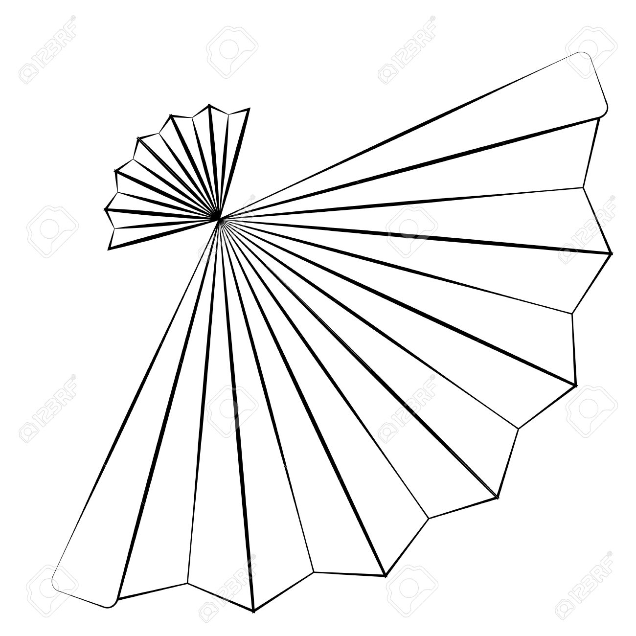 Black outline vector fan on white background royalty free cliparts