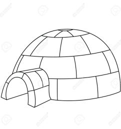 black outline vector igloo on white background stock vector 25307095 [ 1300 x 1300 Pixel ]