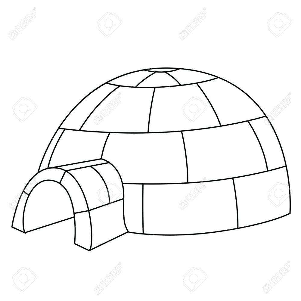 medium resolution of black outline vector igloo on white background stock vector 25307095