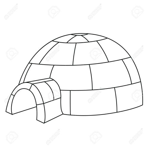 small resolution of black outline vector igloo on white background stock vector 25307095