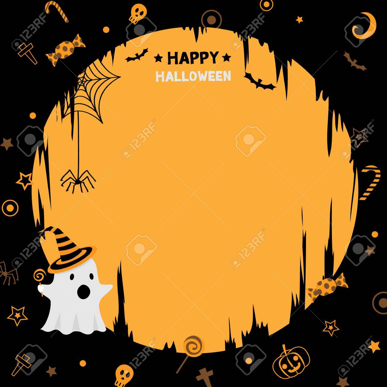illustration vector of happy halloween party template with little