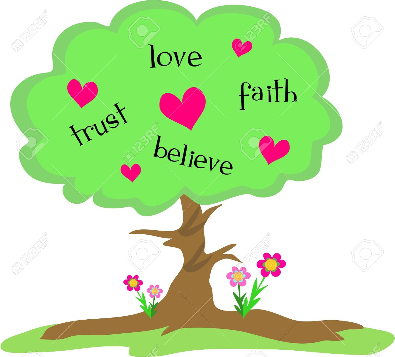 hight resolution of love tree with hearts and flowers stock vector 5263487