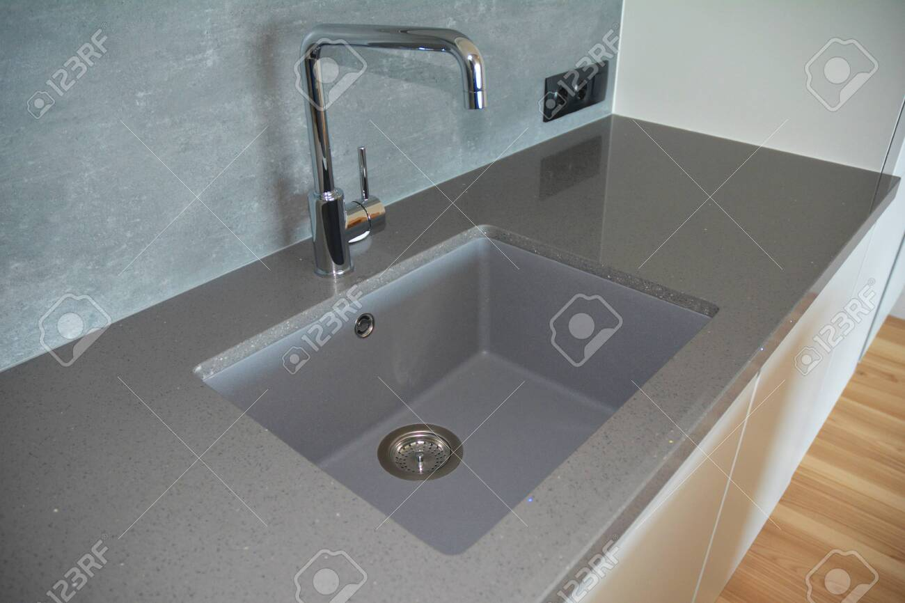modern kitchen chrome faucet and ceramic kitchen sink