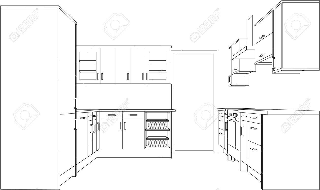 Un 3d Dessin Simple Point Ligne Perspective D Une Cuisine Equipee Version Clip Art Libres De Droits Vecteurs Et Illustration Image 9599085