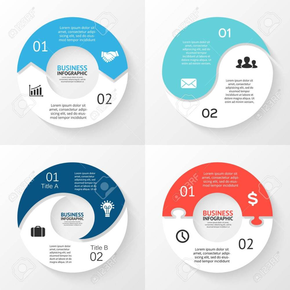 medium resolution of template for cycle diagram graph presentation and round chart business concept with 2 options parts steps or processes abstract background