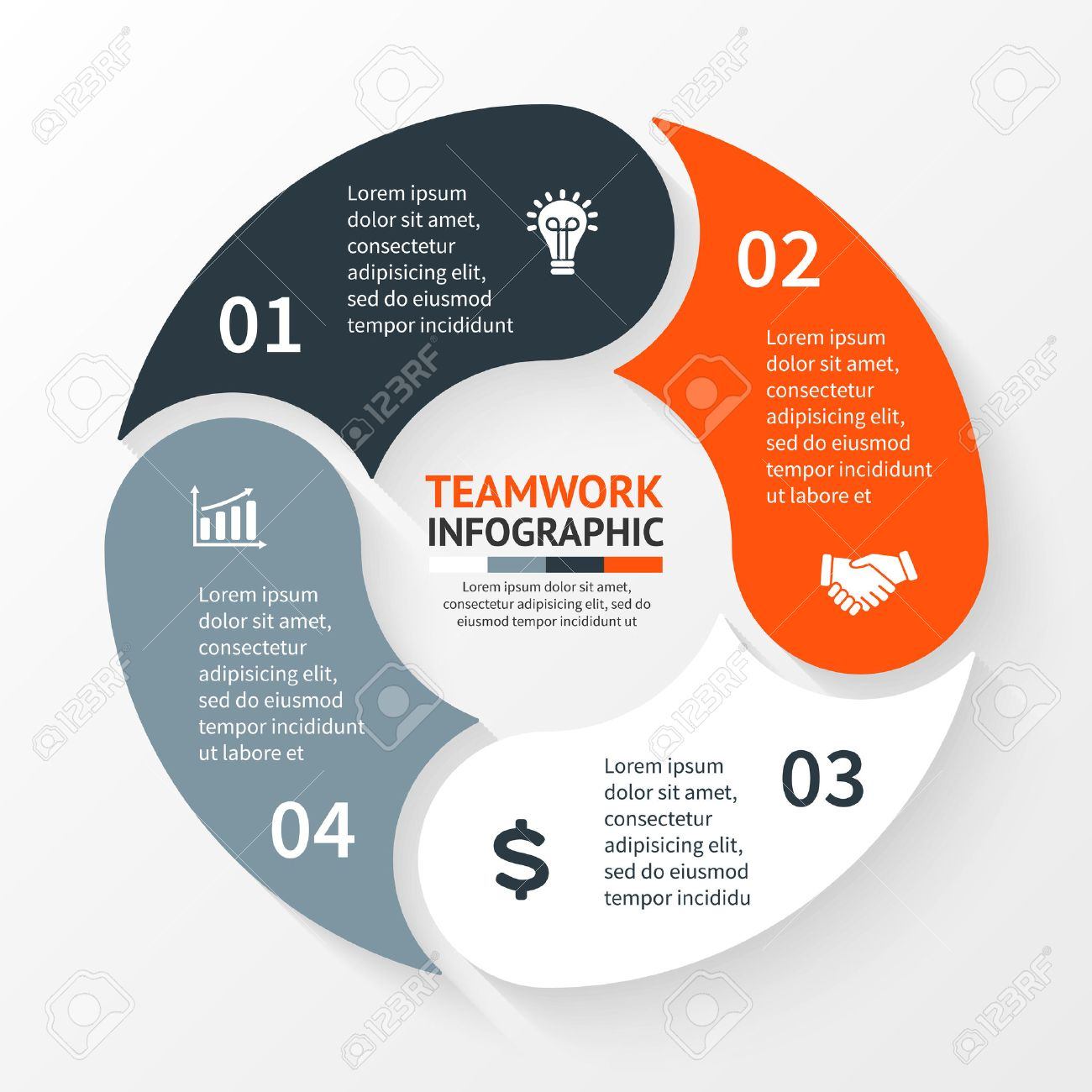 hight resolution of template for cycle diagram graph presentation and round chart business concept with 4 options parts steps or processes abstract background