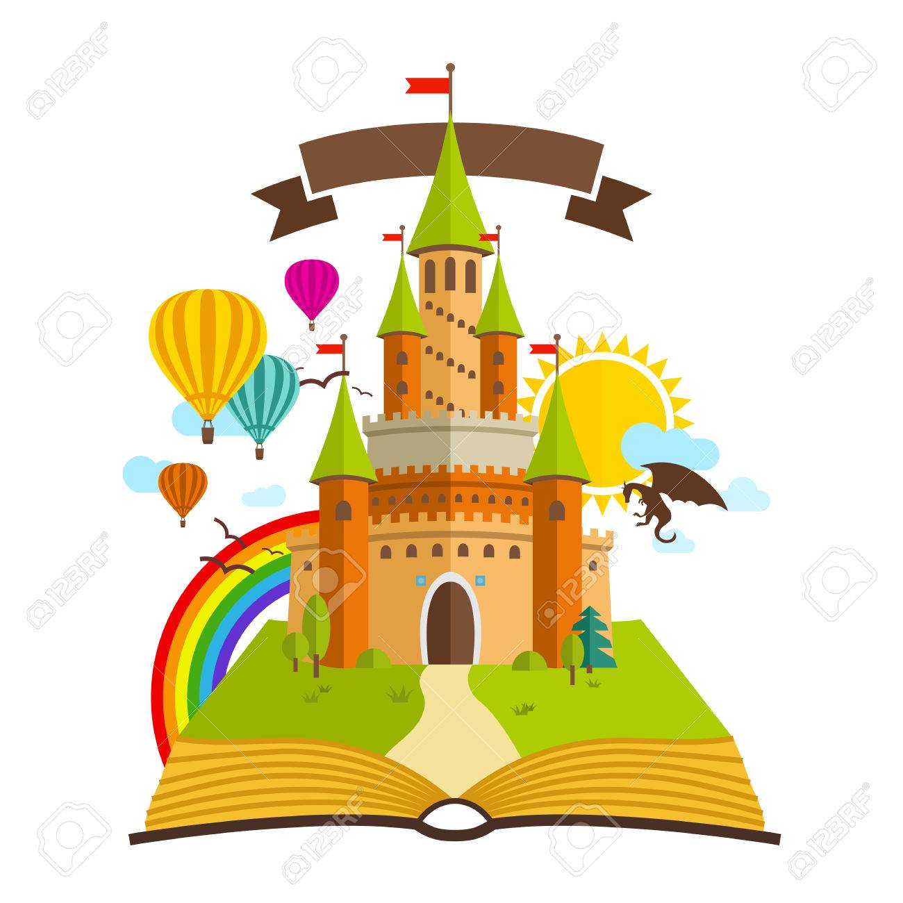 hight resolution of fairy tale castle vector illustration with book dragon sun clouds baloons