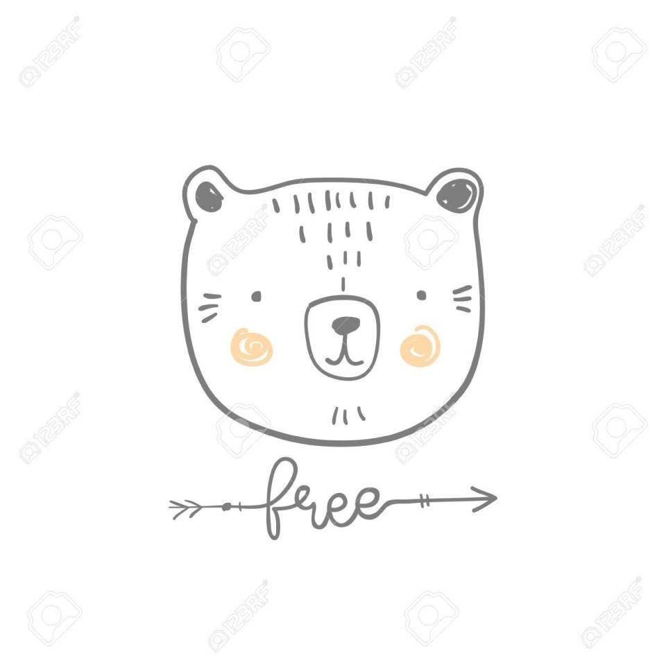 様式化されたアウトラインの手には、無料見積もりでかわいいクマの頭の