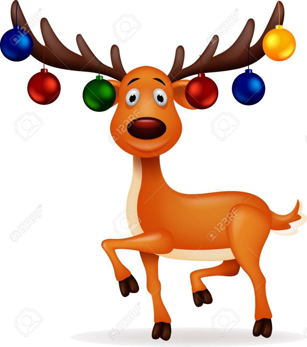 medium resolution of deer with christmas ball illustration