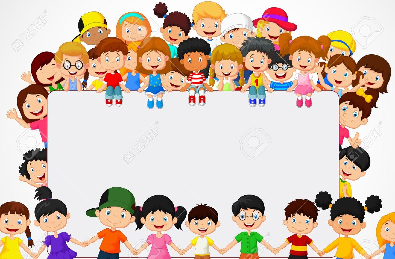 Crowd Children Cartoon With Blank Sign Royalty Free Cliparts Vectors And Stock Illustration Image 35858839