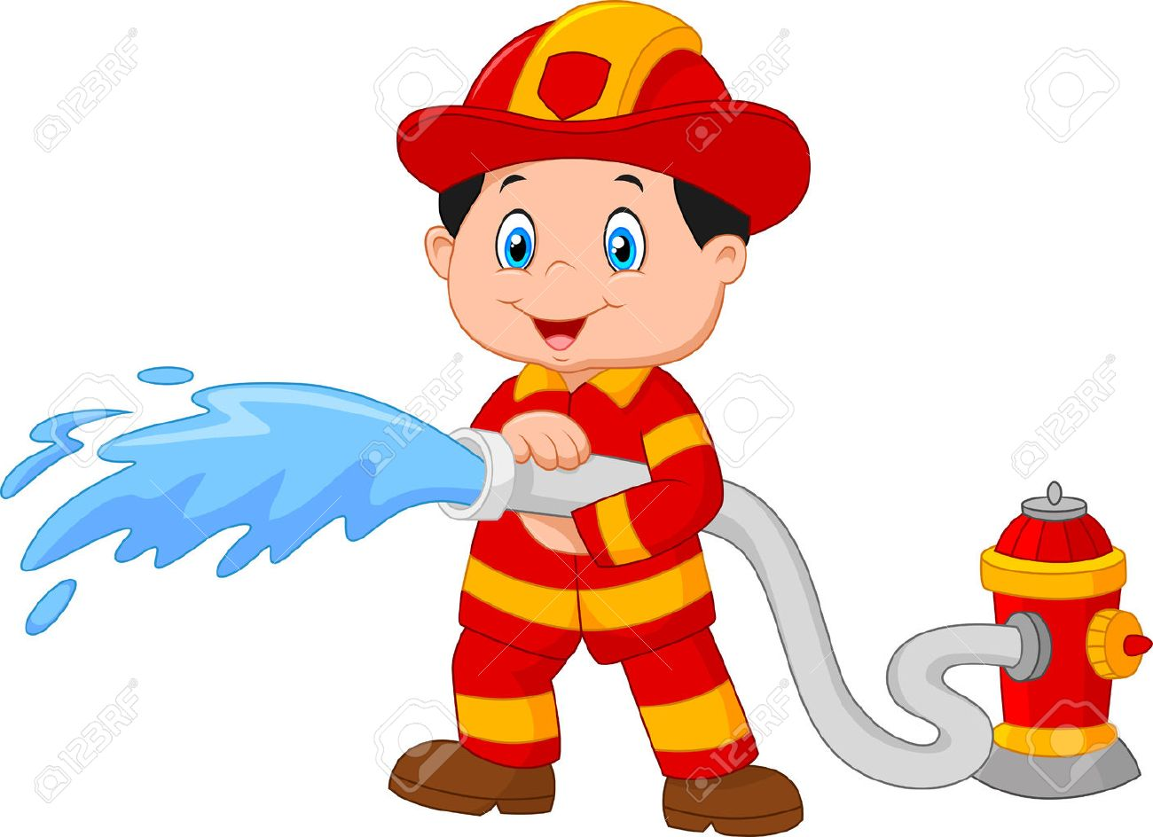 cartoon firefighter pours from