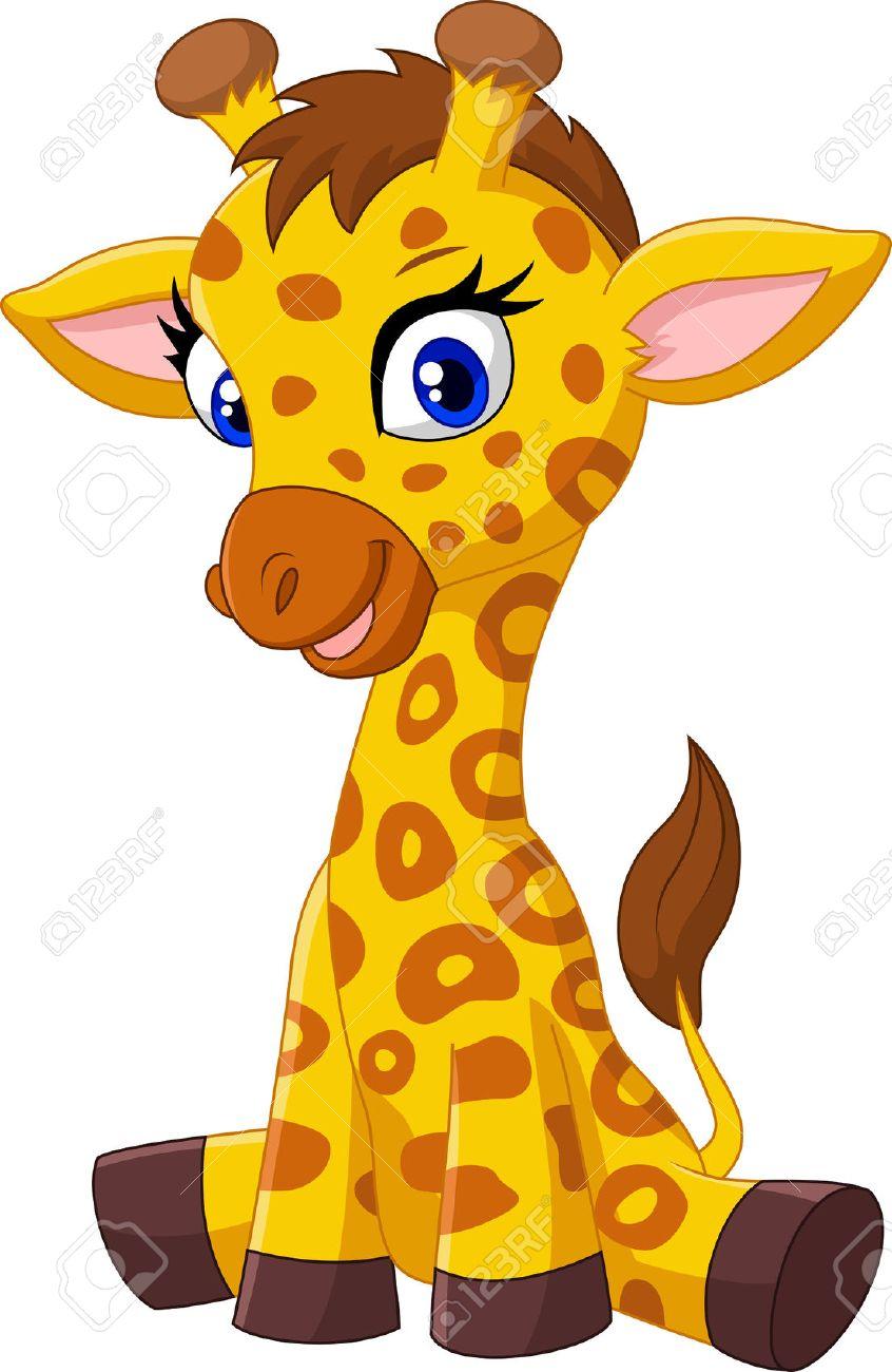hight resolution of cartoon baby giraffe sitting