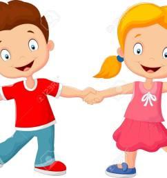 cartoon little kids holding hand stock vector 41386491 [ 1300 x 933 Pixel ]
