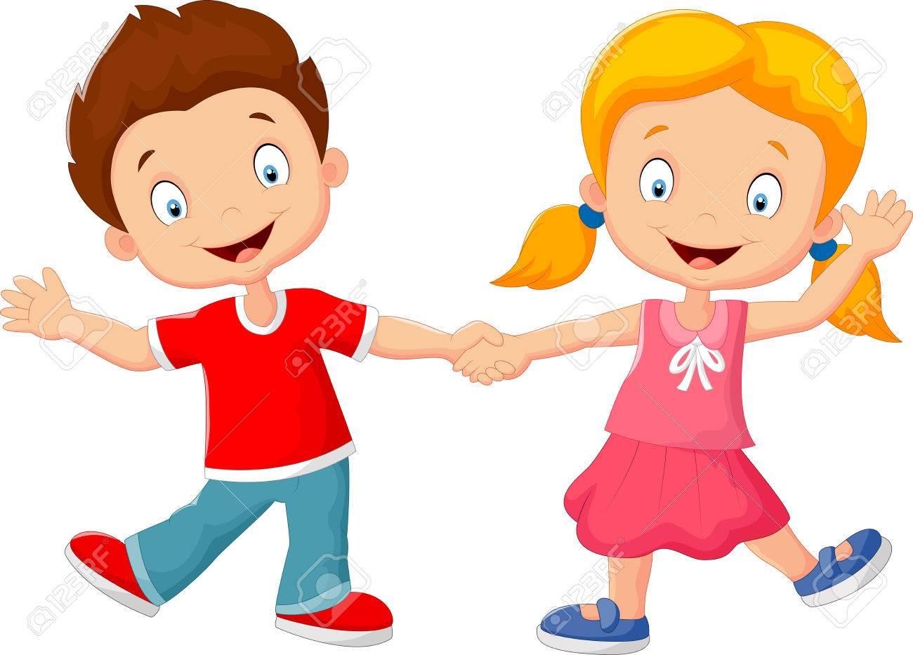 hight resolution of cartoon little kids holding hand stock vector 41386491