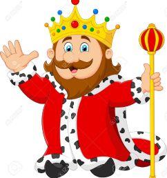 cartoon king holding a golden scepter [ 1174 x 1300 Pixel ]