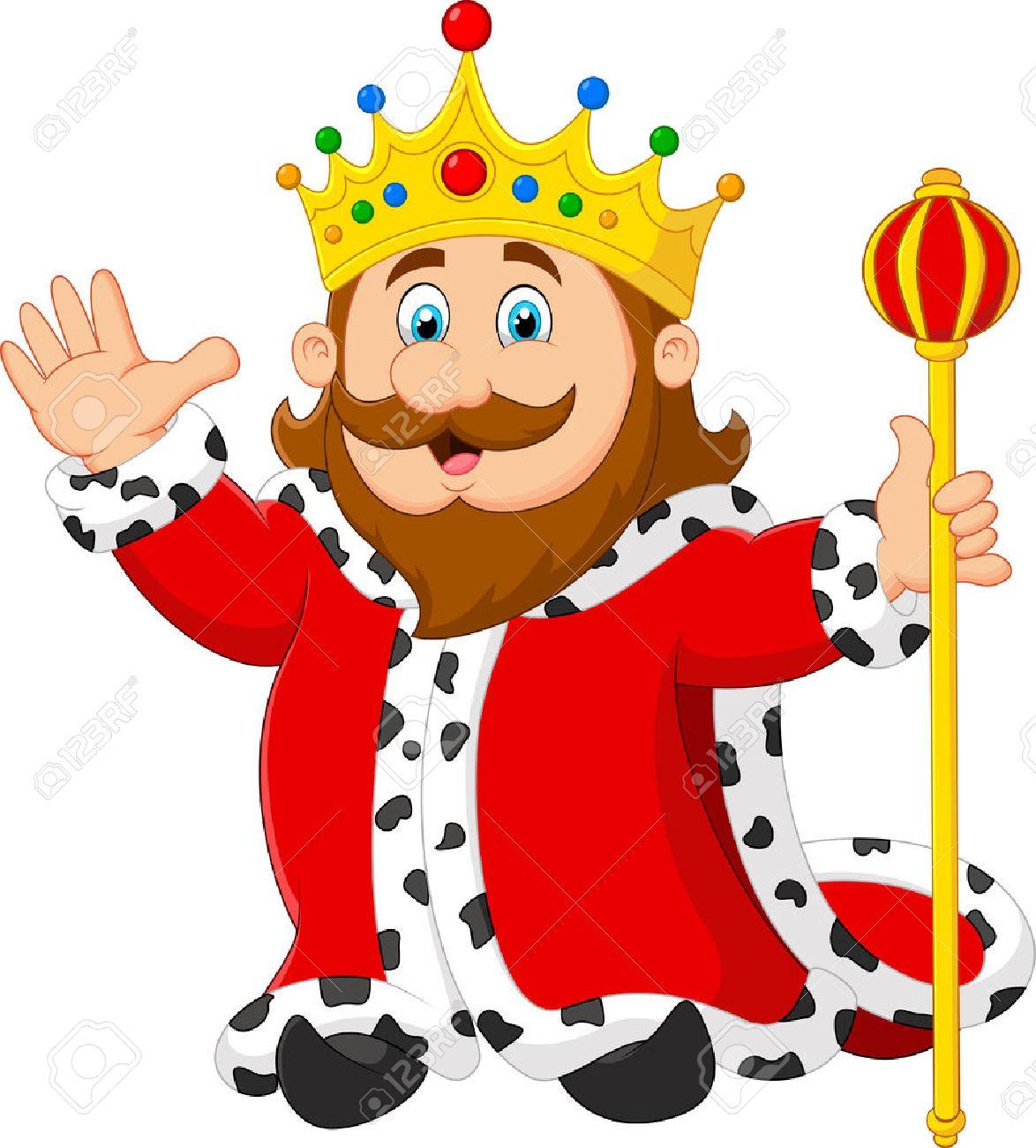 hight resolution of cartoon king holding a golden scepter