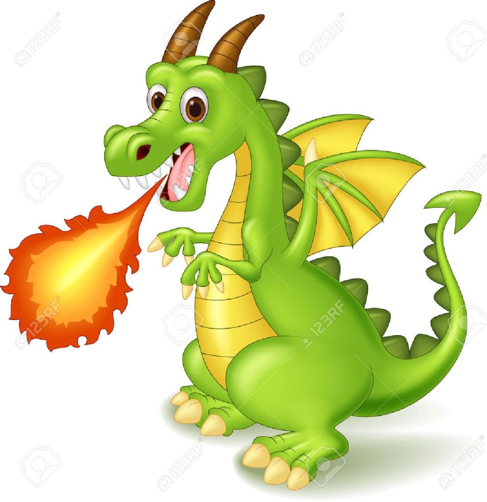 medium resolution of cartoon dragon posing with fire stock vector 45092720