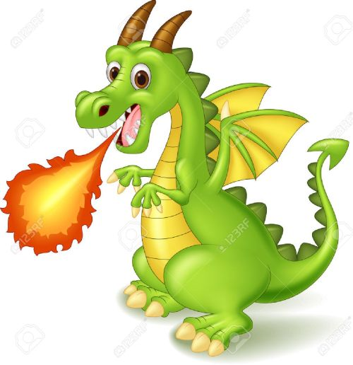 small resolution of cartoon dragon posing with fire stock vector 45092720