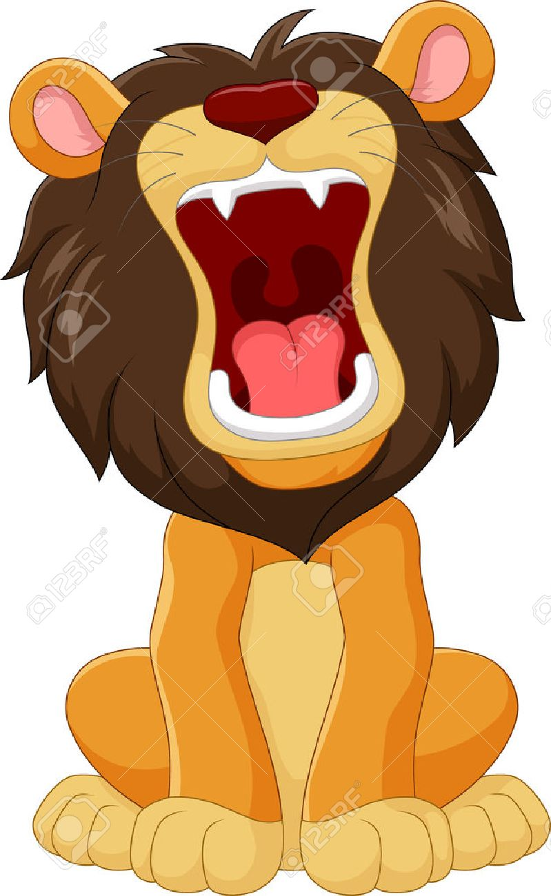 hight resolution of vector illustration of cartoon happy lion roaring isolated on white background illustration
