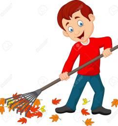 vector vector illustration of happy boy raking leaves [ 1284 x 1300 Pixel ]