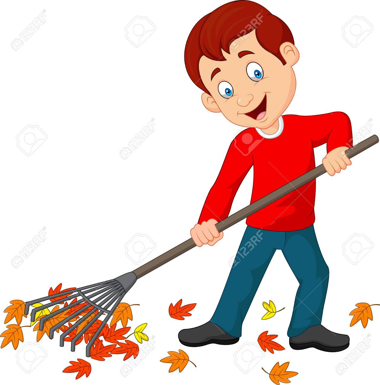 hight resolution of vector vector illustration of happy boy raking leaves